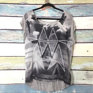 Cotton On Sheer Geometric Graphic Cap Sleeve Top S